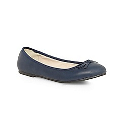 Evans - Extra wide fit navy ballerina pumps