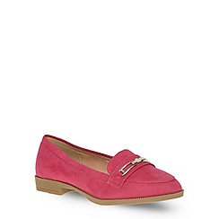 Evans - Extra wide fit pink suedette trim loafer