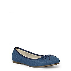 Evans - Extra wide fit blue denim ballerina pump