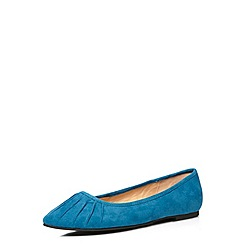 Evans - Teal suedette ruched toe pumps