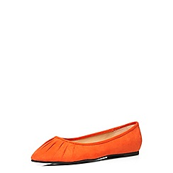 Evans - Orange suedette ruched toe pumps