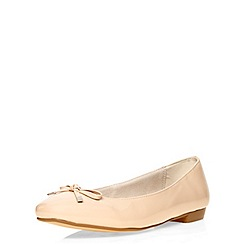 Evans - Extra wide fit nude patent ballet flat