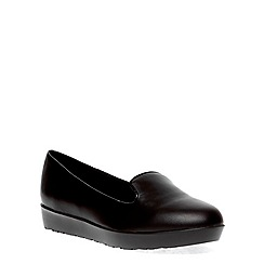 Evans - Extra wide fit black flatform slipper pump