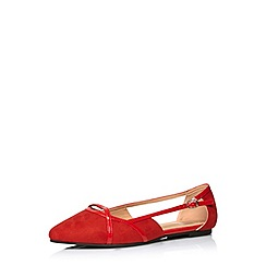 Evans - Extra wide fit red suedette cut out shoe