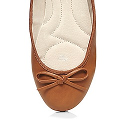 Evans - Extra wide fit tan ballerina pump