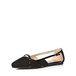 Evans - Extra wide fit black suedette cut out shoe