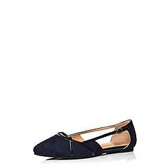Evans - Extra wide fit navy suedette cut out shoe