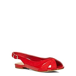 Evans - Extra wide fit red fabric mix peep slingbacks