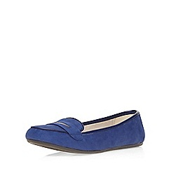 Evans - Extra wide fit blue suedette loafer