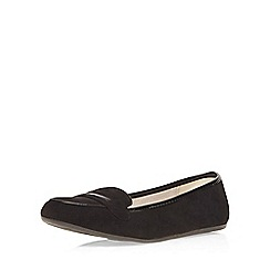 Evans - Extra wide fit black suedette loafer