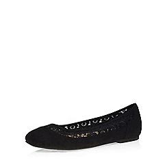 Evans - Extra wide fit black suedette lace pump