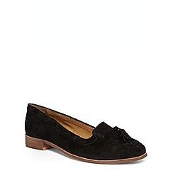 Evans - Extra wide fit black suede tassel loafers