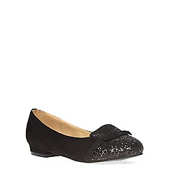 Evans - Extra wide fit black glitter bow slipper pump