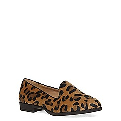 Evans - Extra wide fit leopard print slipper pump