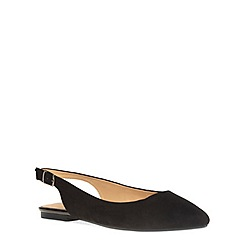 Evans - Extra wide fit black suedette slingback pump