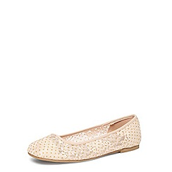 Evans - Extra wide fit nude square toe lace pumps
