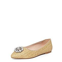 Evans - Extra wide fit nude raffia jewel almond toe pumps