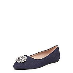 Evans - Extra wide fit blue jewel almond toe pumps