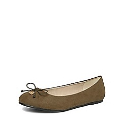 Evans - Extra wide fit green charm ballerina pumps
