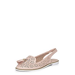 Evans - Extra wide fit nude punch-out slingback shoes