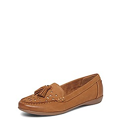 Evans - Extra wide fit brown leather moccasins