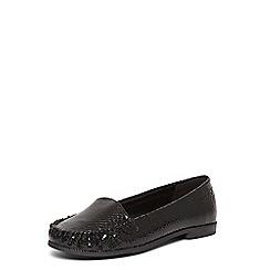 Evans - Extra wide fit black snake slip on loafers