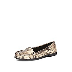 Evans - Extra wide fit nude snake slip on loafers