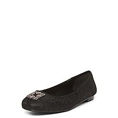 Evans - Black lace jewel square toe pumps