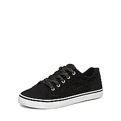 Evans - Extra wide fit black glitter lace up trainers
