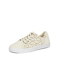 Evans - Extra wide fit ivory glitter lace up trainers