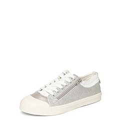 Evans - Extra wide fit silver glitter zip trainers