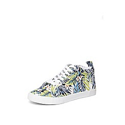 Evans - Extra wide fit blue tropical print hi-top trainers