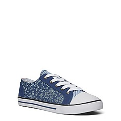 Evans - Extra wide fit denim material mix lace up shoe