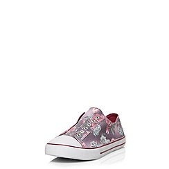 Evans - Extra wide fit multi floral laceless trainers