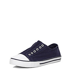 Evans - Extra wide fit navy laceless trainer