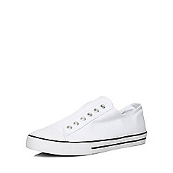 Evans - Extra wide fit white laceless trainers