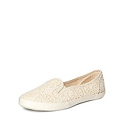 Evans - Extra wide fit cream lace skater shoes