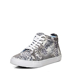 Evans - Extra wide fit grey floral high top trainer