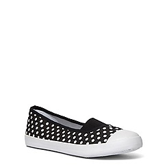 Evans - Extra wide fit black spot print casual pump