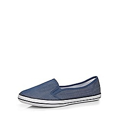 Evans - Extra wide fit blue denim skater shoe
