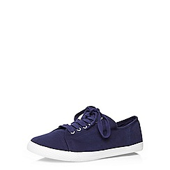 Evans - Extra wide fit navy lace up trainers