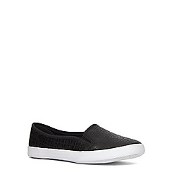 Evans - Extra wide fit black reptile low skater shoe