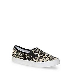 Evans - Extra wide fit leopard print skater shoe