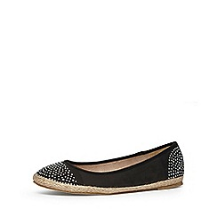 Evans - Extra wide fit black diamante espadrille