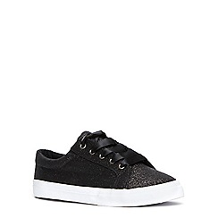 Evans - Extra wide fit black glitter lace up trainer