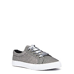 Evans - Extra wide silver glitter lace up trainers