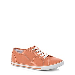 Evans - Extra wide fit coral contrast stitch lace up shoe