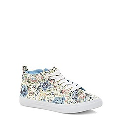 Evans - Extra wide fit pastel floral high top shoes