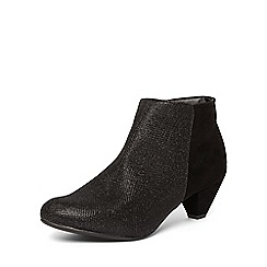 Evans - Extra wide fit black glitter shoe boots
