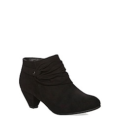 Evans - Black suedette ruched boot